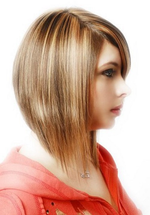 Medium length angled haircut with razored ends