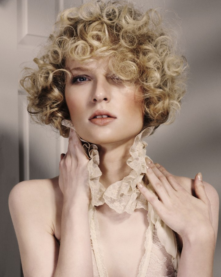 Short Hairstyle Round Curls Covering Ears