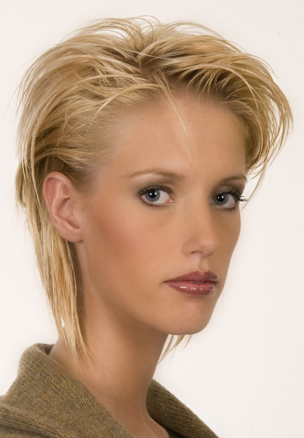 Short Hair With Irregular Strands And Styled Behind The