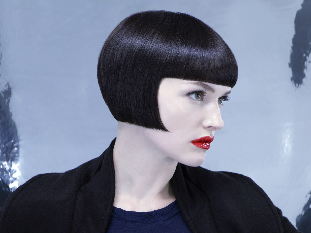 Short Straight Bob With Bangs And Blunt Edges