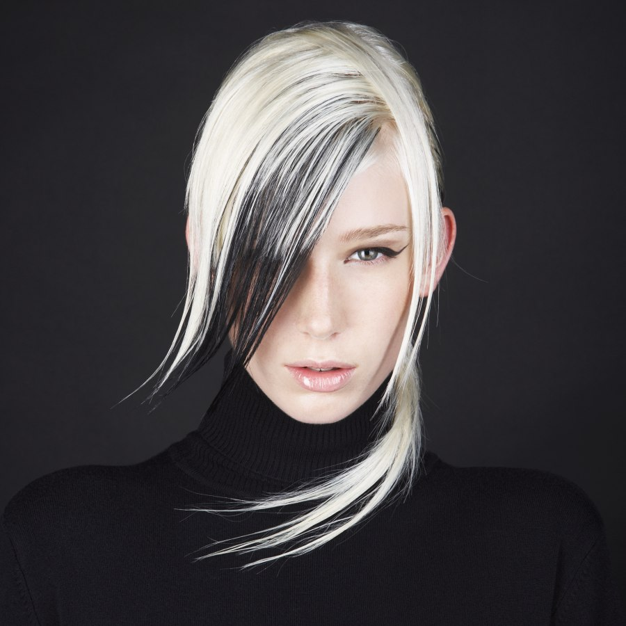 White hair with added black hair extensions | Black streaks