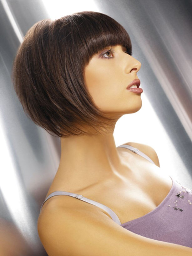 Soft Short Hairstyle With Smooth Tapering And Blunt Cut Bangs