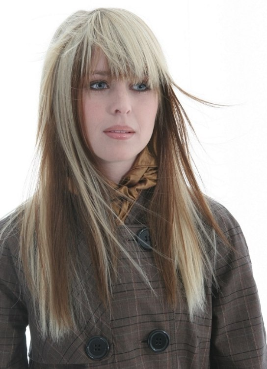 Eyebrow Length Bangs Hairstyle. long hair with eyebrow length bangs