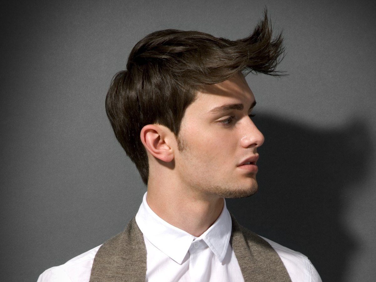 Boy's Hairstyle With Short Back And Sides And Forward Styling