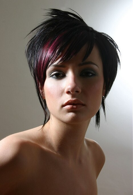 Short Choppy Hairstyle Black Hair With Purple Streaks