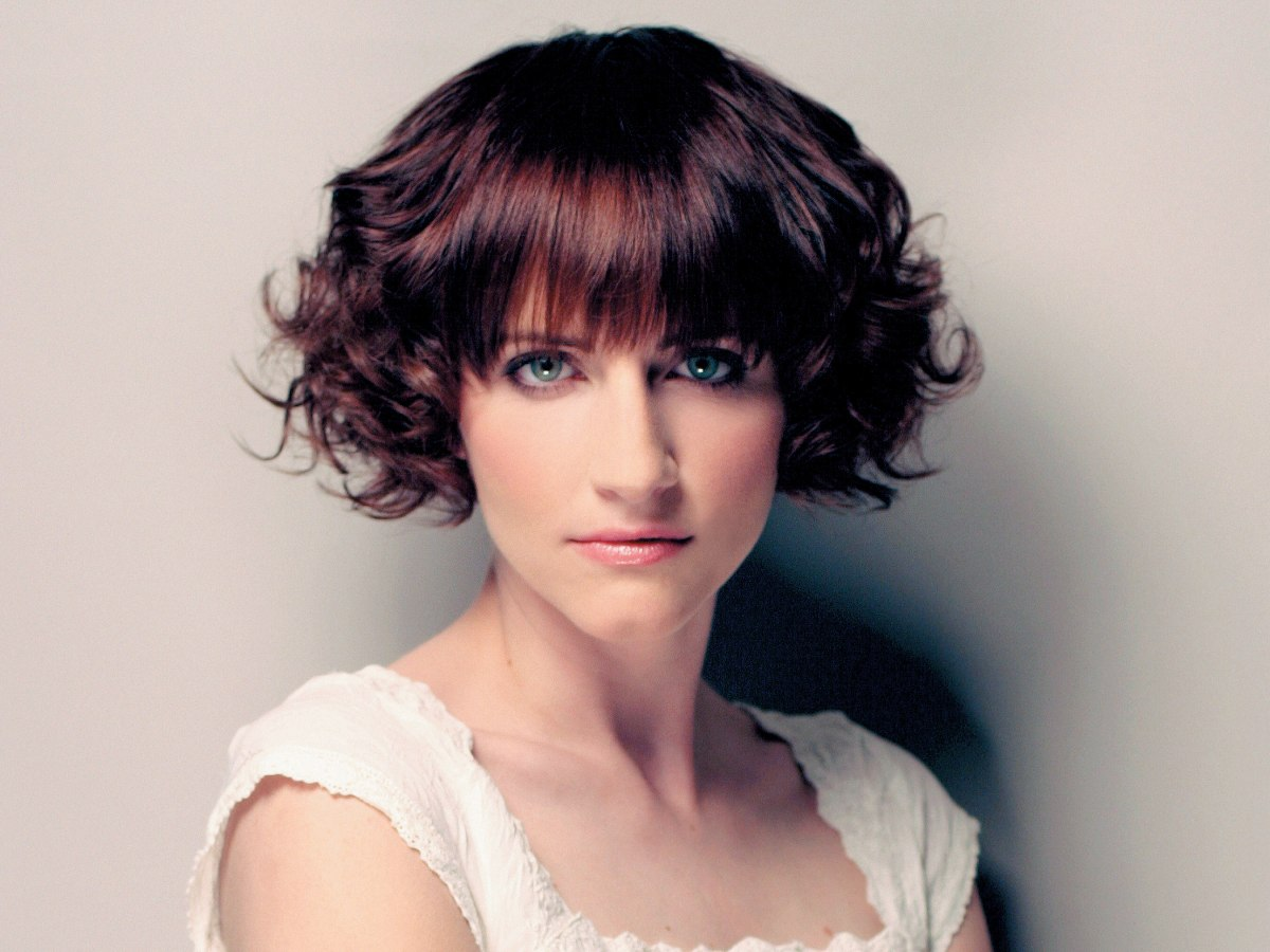 Brunette Retro Bob With A Fringe