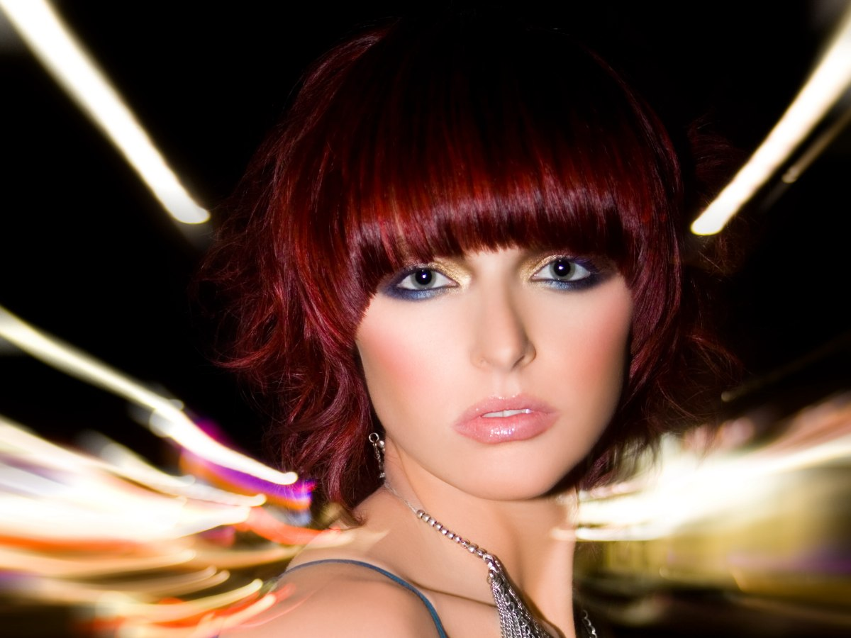 Short Hairstyle With A Rich And Radiant Red Color