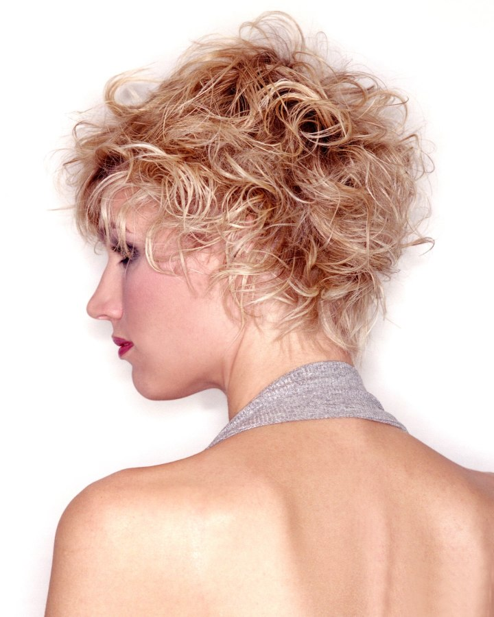 Groovy Wild Short Hairstyle With Fuzzy Fringes And Blonde Highlights Hairstyles For Women Draintrainus