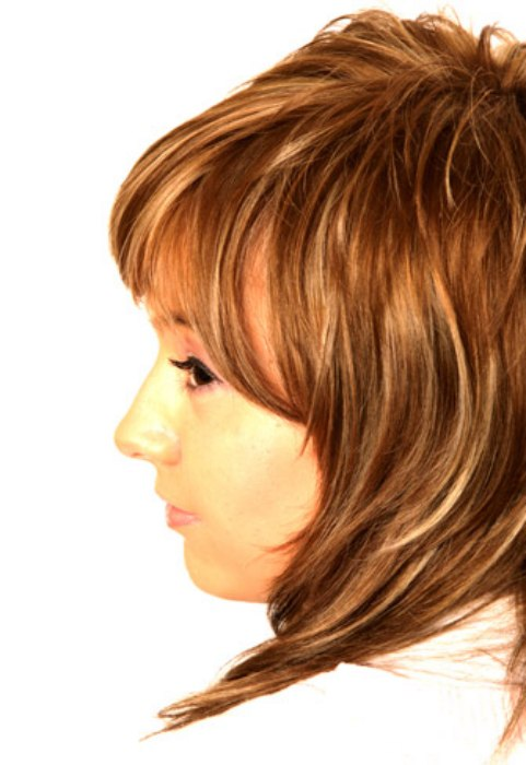 Long hair with short layers and chunky bangs