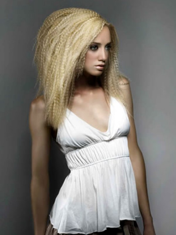 Long Blonde Hair Crimped In Small Sections