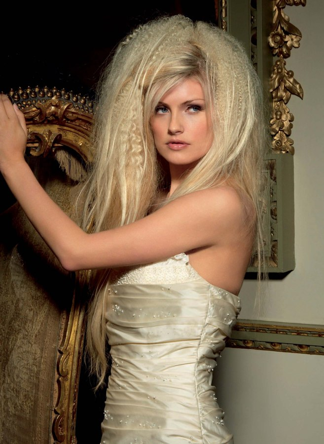 wedding hairstyle created with extensions and backcombed hair