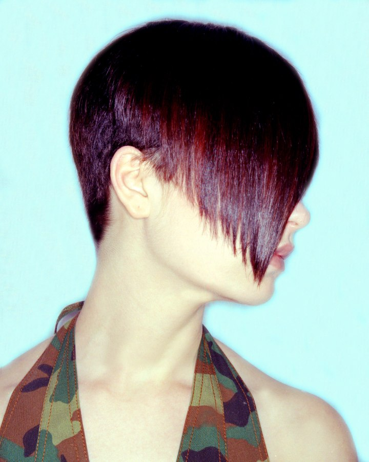 Awesome Boyish Hairstyle With A Super Short Back And A Warm Red Glow Short Hairstyles For Black Women Fulllsitofus