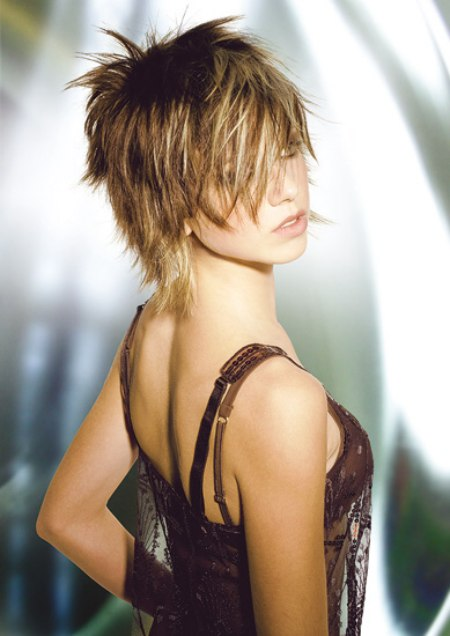 Trendy shaggy hairstyle