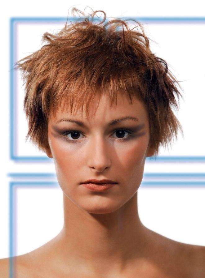 Short Gamine Haircut With Choppy Layering And Razor Cut Edges