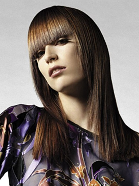 Long Hairstyle With Finely Tapered Sides And Bangs Cut In