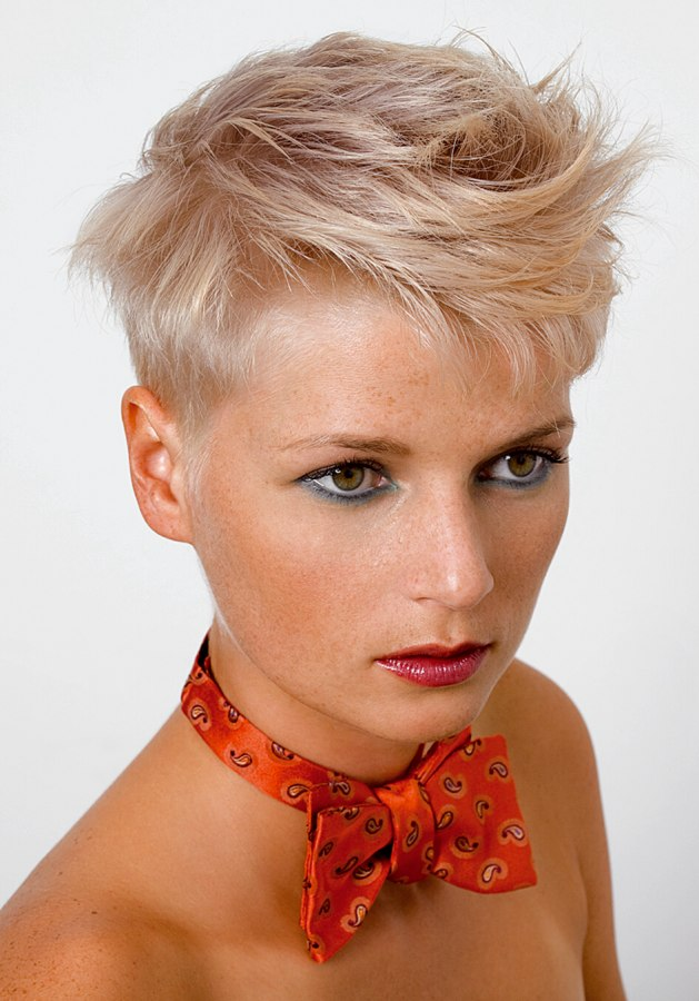 Very Short Gamine Haircut For Women Blonde Hair