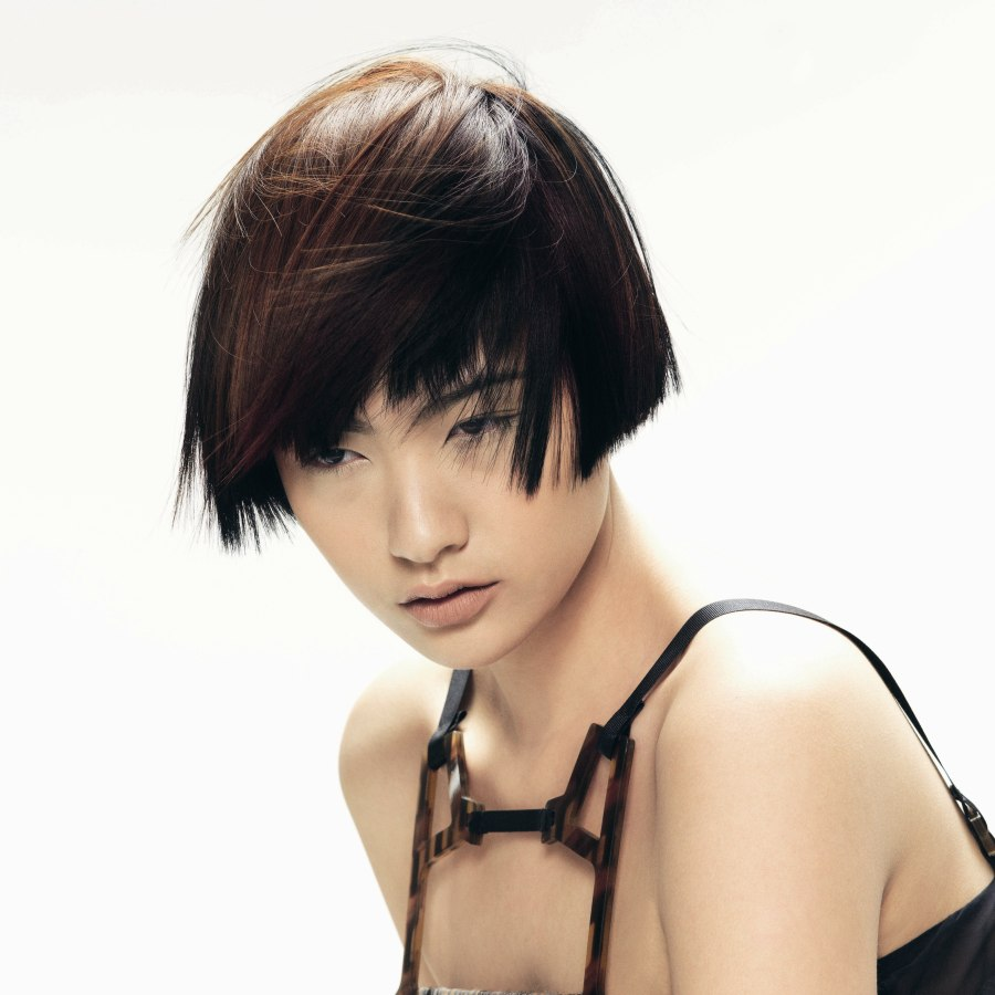 Ear Length Asian Hairstyle With A Short Cropped Neck And