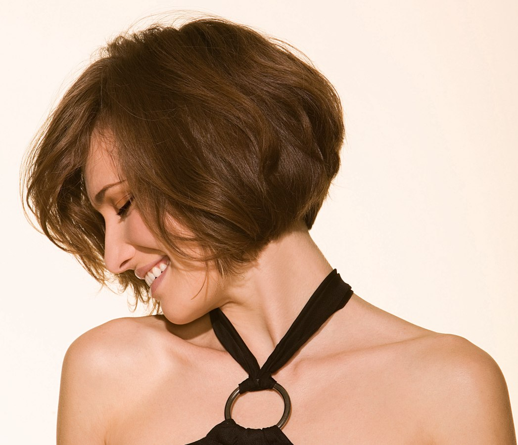 Stacked bob with a gentle curve in the nape and lower crown