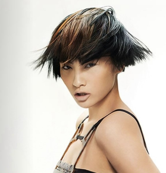 Remarkable Ear Length Asian Hairstyle With A Short Cropped Neck And Highlights Short Hairstyles For Black Women Fulllsitofus