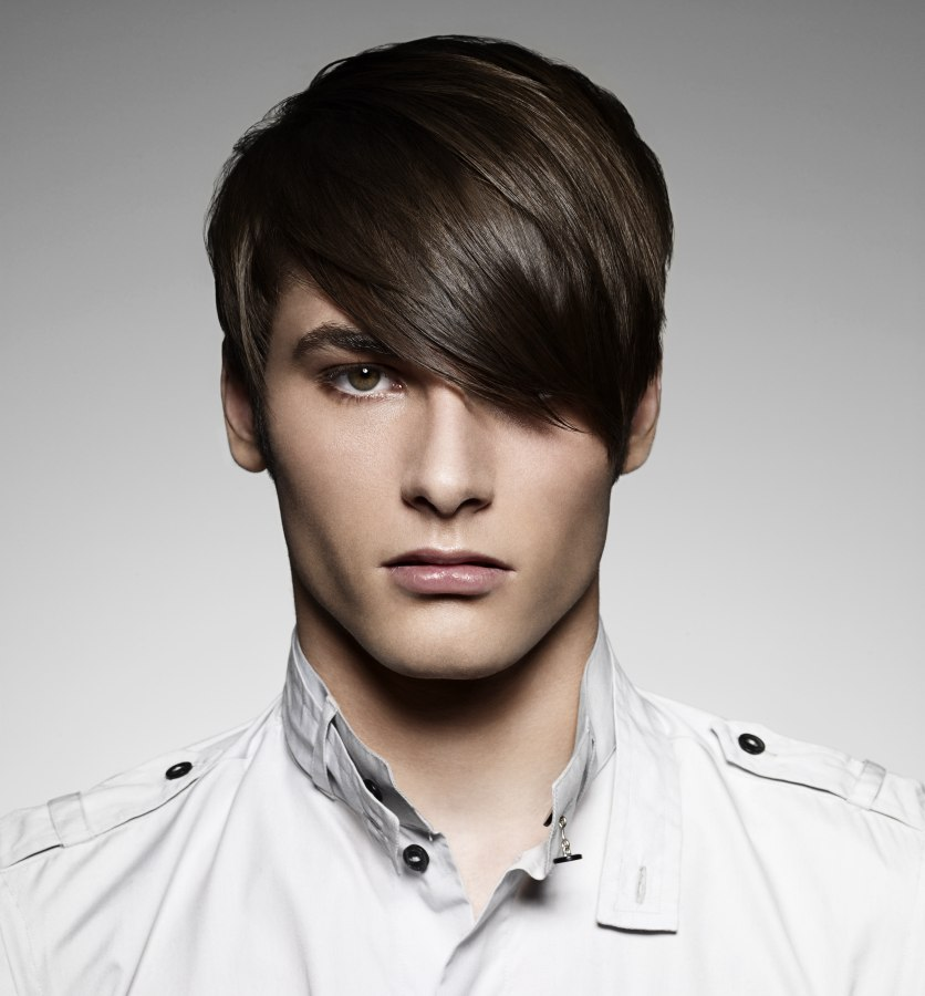 Short Men S Haircut With Long Bangs
