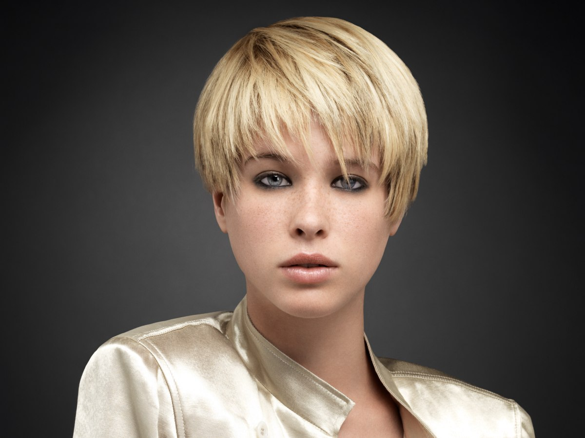 Cute short hairstyle with the hair on one side cut above
