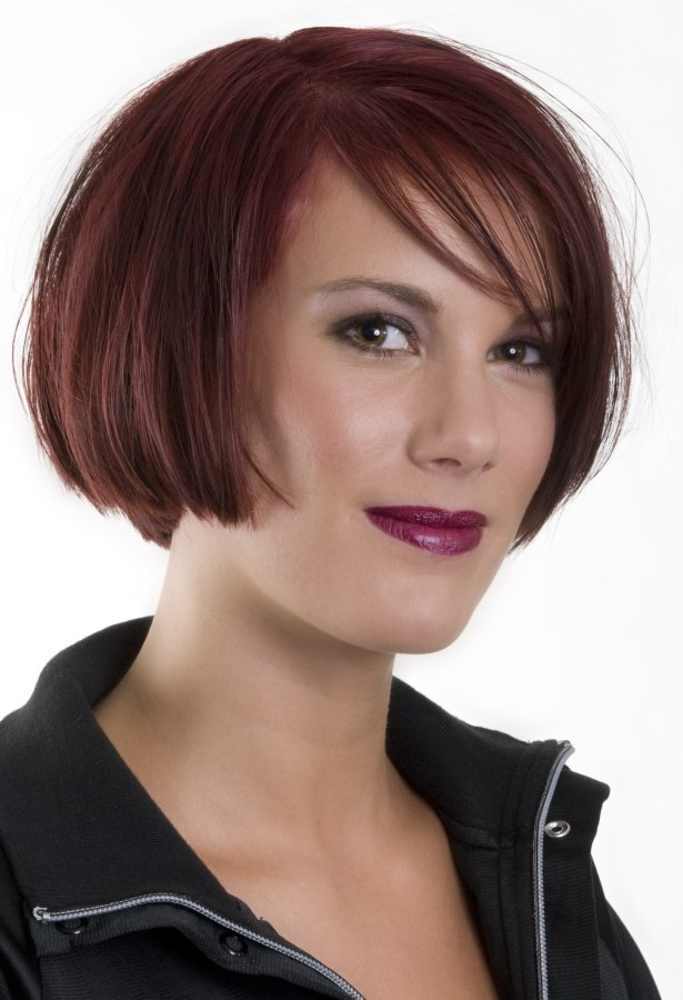 Simple chin length bob hairstyle with a lightly textured fringe