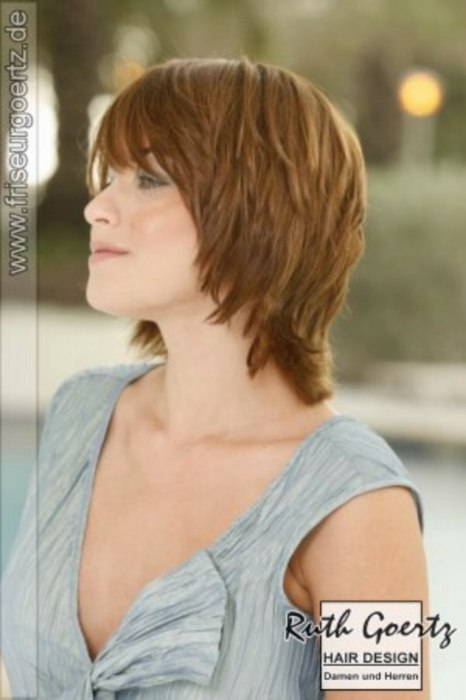 Carefree Collar Length Hairstyle With A Long Angled Fringe