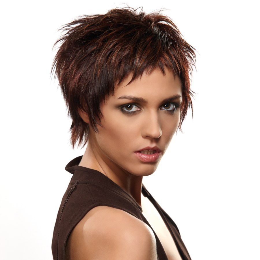 Edgy short hairstyle created with various cutting techniques