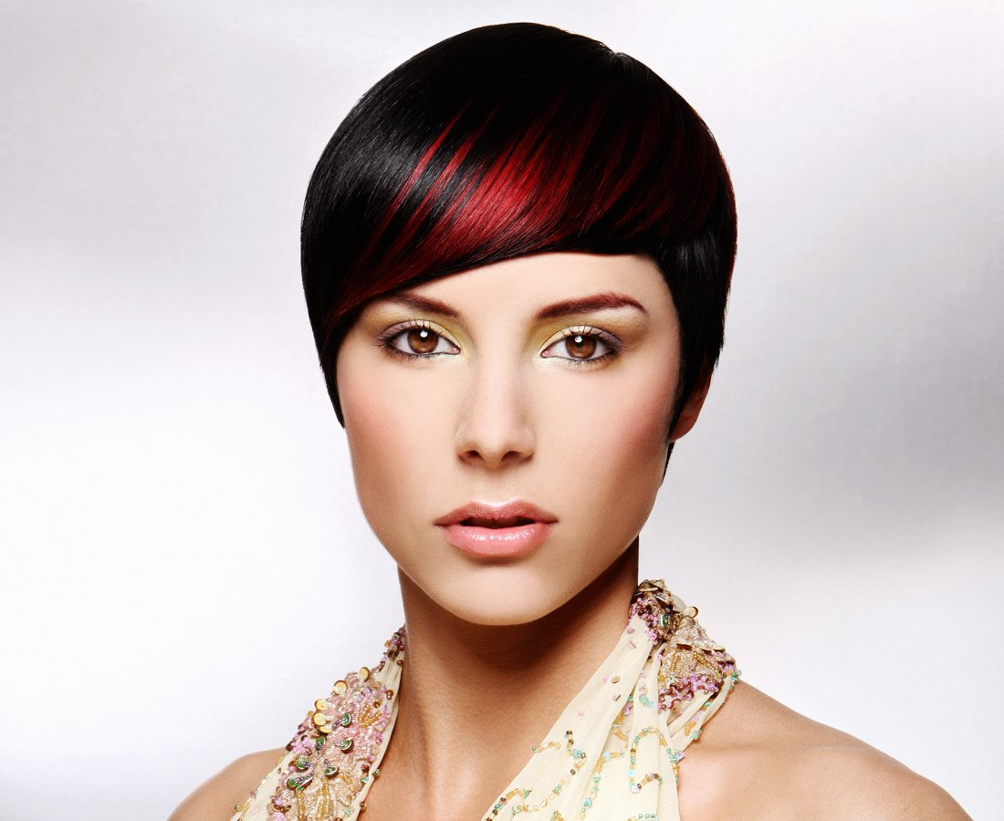 Short Red Hair With A Black Base Color And Red Streaks