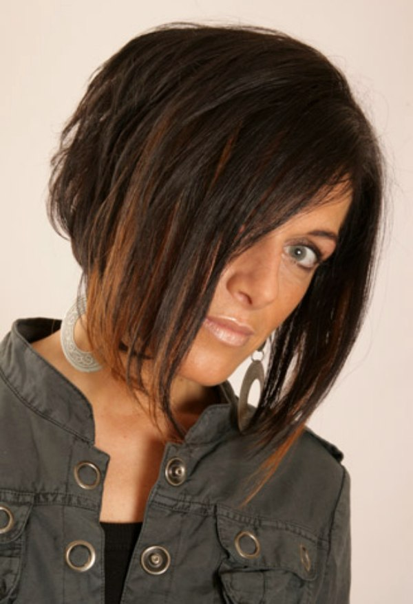 Heavily Layered Bob With A Longer Front Area