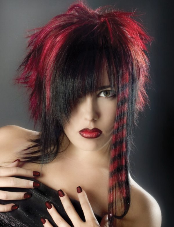Hair Color Creation With Red Streaks And Rings