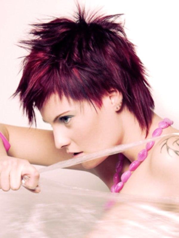 Choppy Pixie Style Cut With A Plum Purple Hair Color