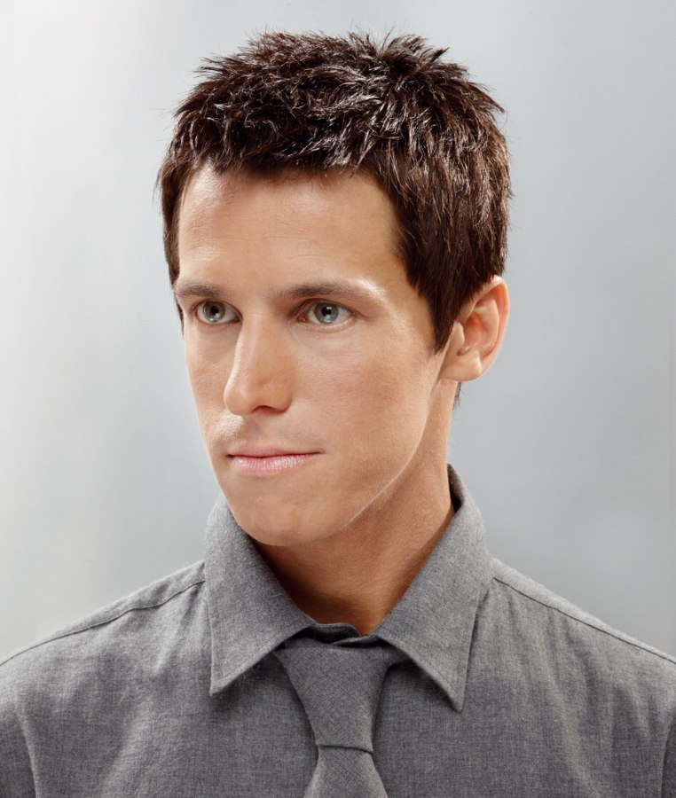 short haircut with a neat outline for men
