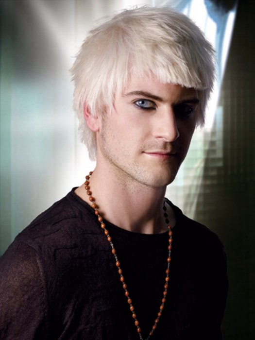 Man With Choppy Platinum Blonde Hair