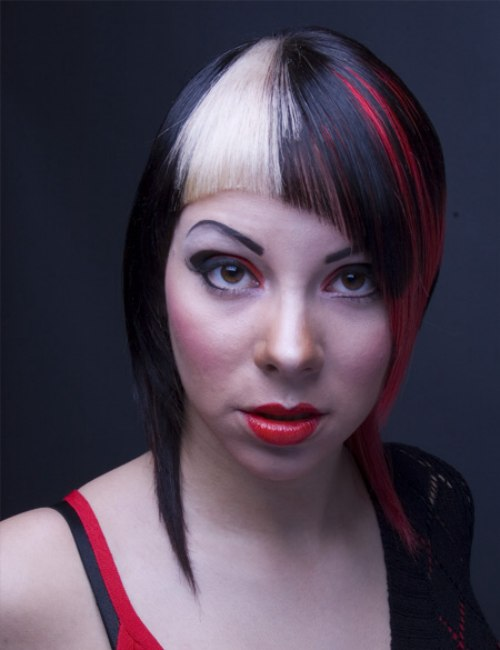 Challenging Hair Color With A Combination Of Black Red
