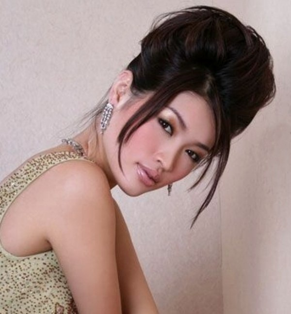Updo With Tendrils For Asian Hair