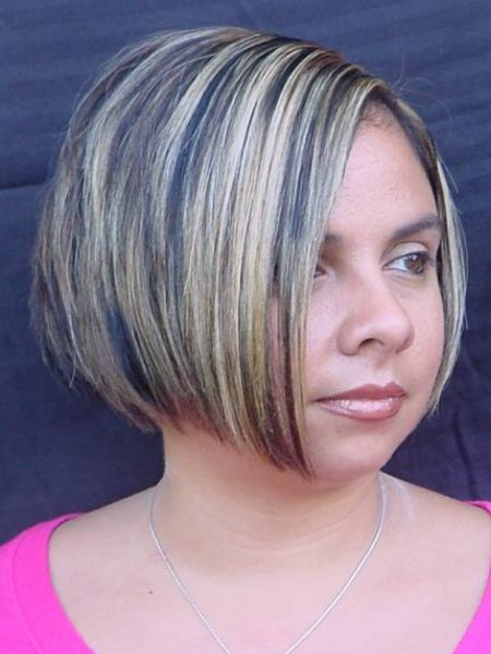 Glossy chin line length bob that is tailored in the nape for Aaina beauty salon somerset nj
