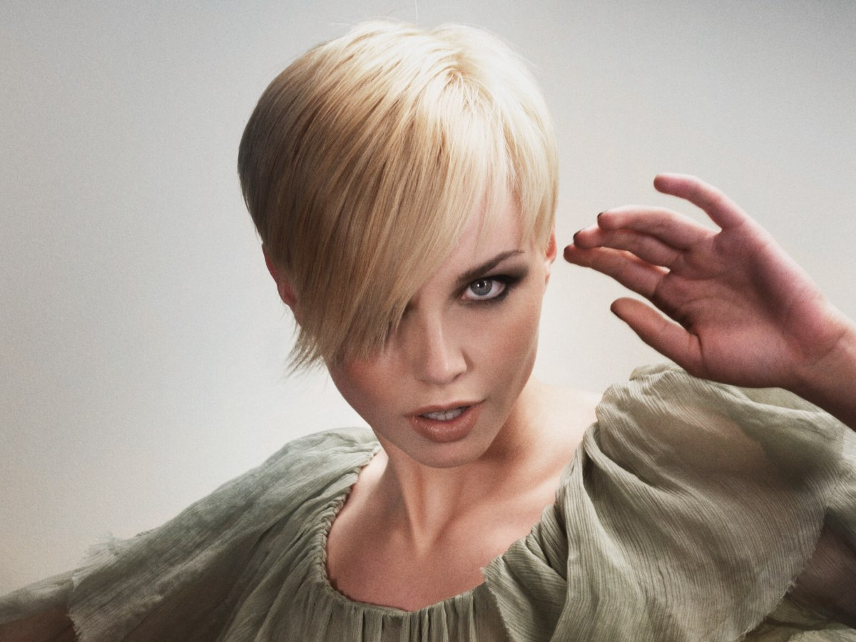 Pixie With A Long Fringe That Angles Across The Face