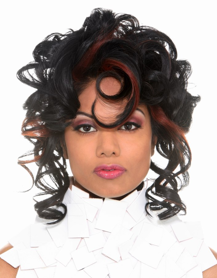 hairstyle with corkscrew curls for a big curl look