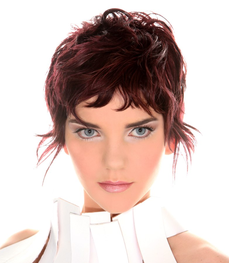 Layered Short Pixie Haircut With Hair In Front Of Each Ear