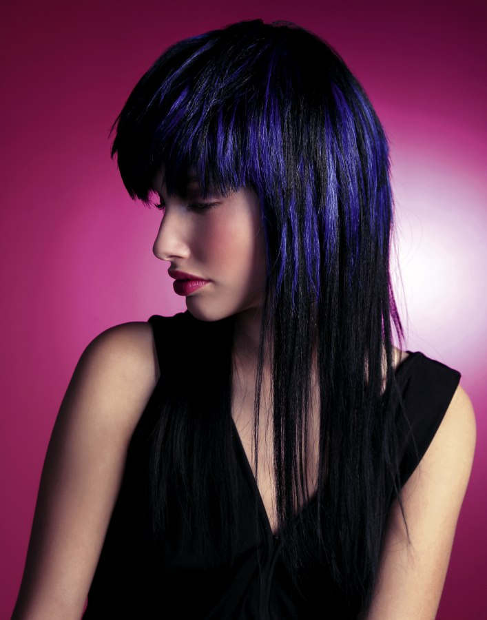 Long Layered And Tapered Indigo Blue Hair