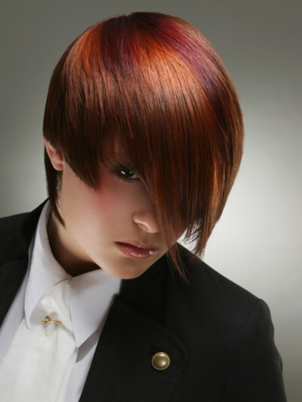 Reversed bob with layers of copper and cool berry tones