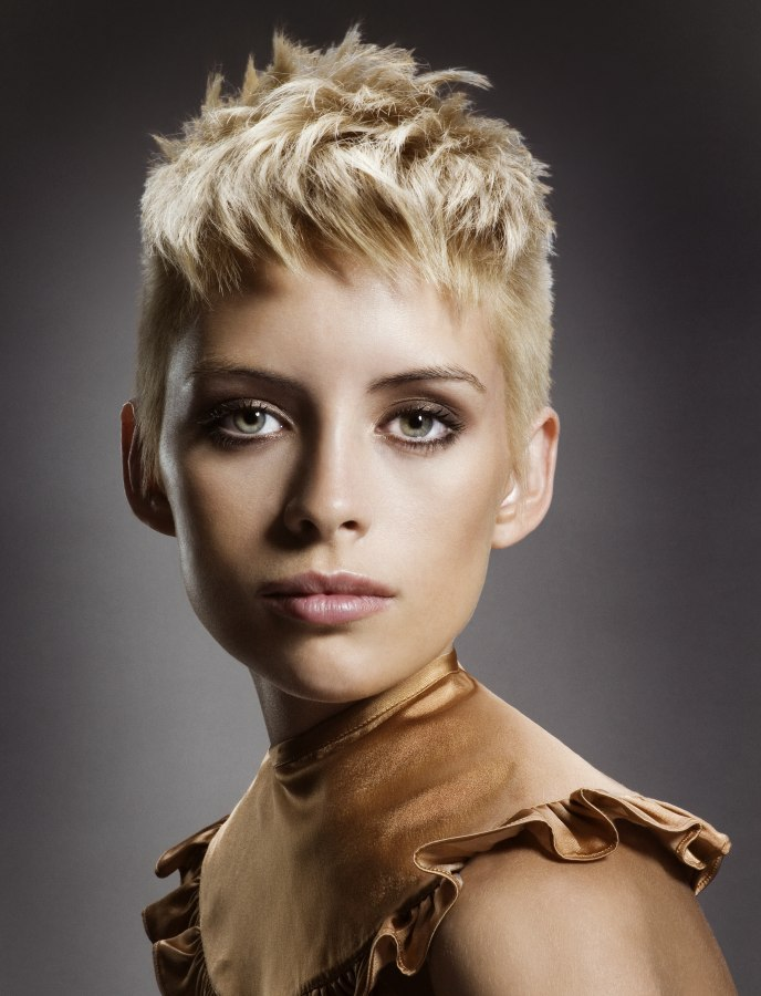 Gamine Short Hairstyle With Super Short Sides For The