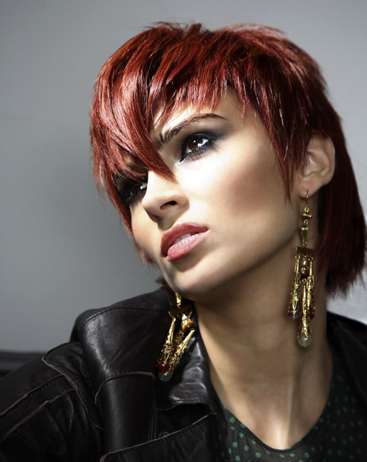 Short Hairstyle With Elements Of Punk And A Long Neck Area