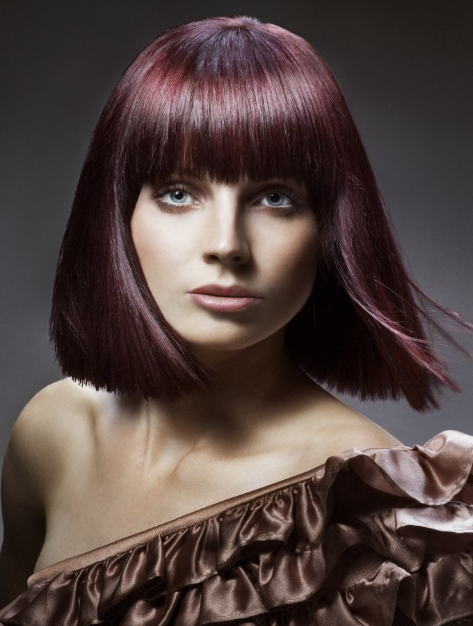 Modern Shoulder Length Bob With Point Cut Ends And Smooth