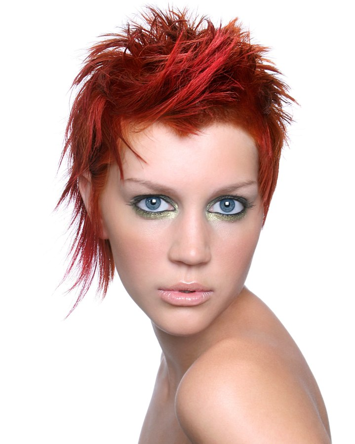Very Short Hairstyle For Red Hair With A Long Side Lock