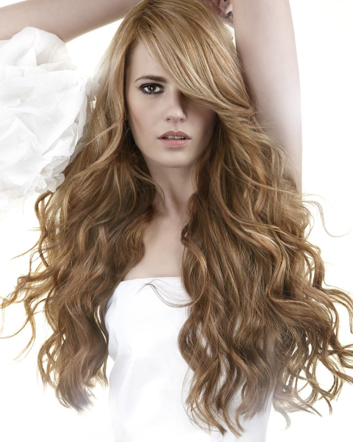 Excellent Model With Long Hair Waves Curls Hairstyle Hair Salon Updo Fashion