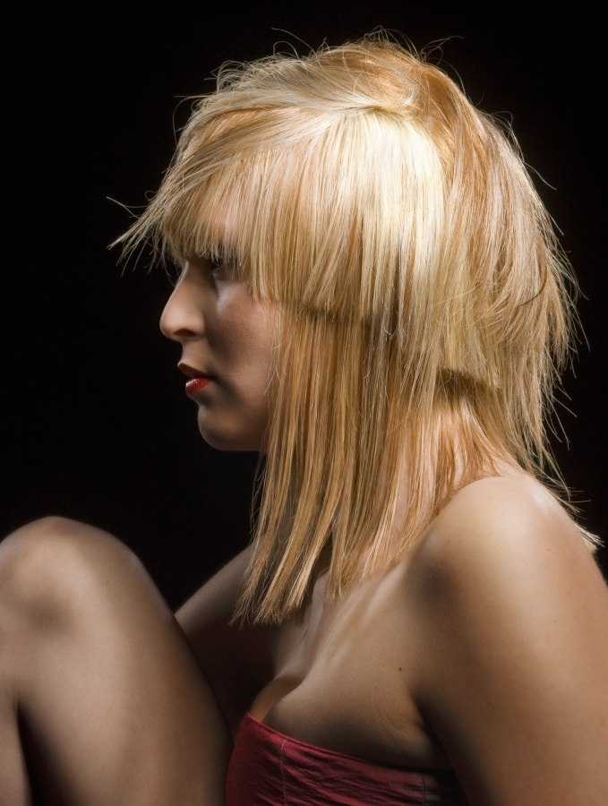 Shoulder Length Bob With Over Cut Layers And A Blunt