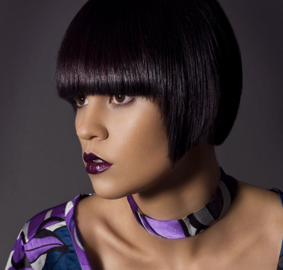 Clean Straight And Smooth Bob For Dark Hair With A Purple