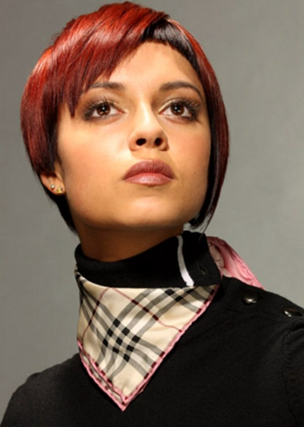 Short Hairstyle With One Side Covering The Ear